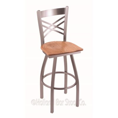 Catalina 30 Swivel Bar Stool Base Finish: Stainless, Upholstery: Medium Oak