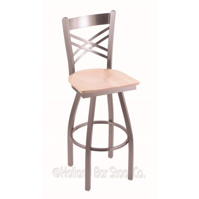 Catalina 30 Swivel Bar Stool Base Finish: Stainless, Upholstery: Natural Maple
