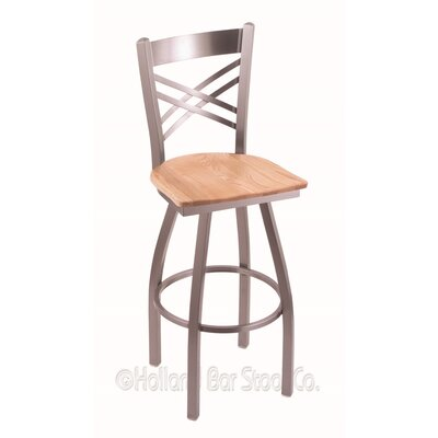 Catalina 30 Swivel Bar Stool Base Finish: Stainless, Upholstery: Natural Oak