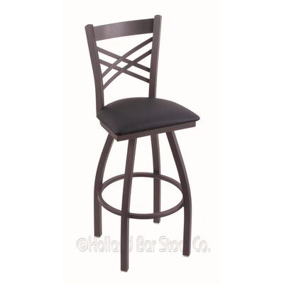 Catalina 36 Swivel Bar Stool Finish: Pewter, Upholstery: Allante Dark Blue