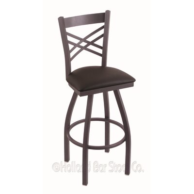 Catalina 36 Swivel Bar Stool Finish: Pewter, Upholstery: Allante Espresso