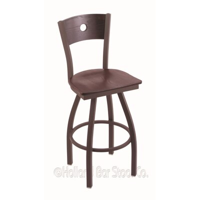 Voltaire 36 inch Swivel Bar Stool Upholstery: Dark Cherry Oak, Base Finish: Bronze