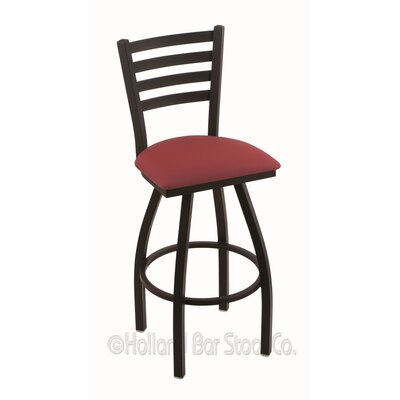 Jackie 36 Swivel Bar Stool Finish: Black Wrinkle, Upholstery: Allante Wine