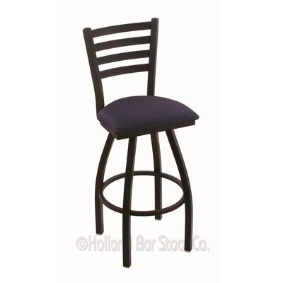 Jackie 25 Swivel Bar Stool Upholstery: Axis Denim, Finish: Black Wrinkle