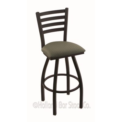 Jackie 36 Swivel Bar Stool Finish: Black Wrinkle, Upholstery: Axis Grove