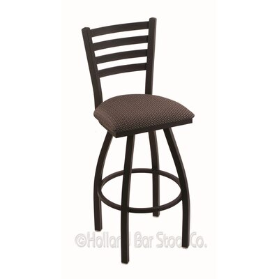 Jackie 30 Swivel Bar Stool Finish: Black Wrinkle, Upholstery: Axis Truffle
