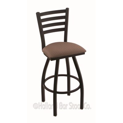 Jackie 25 Swivel Bar Stool Upholstery: Axis Willow, Finish: Black Wrinkle