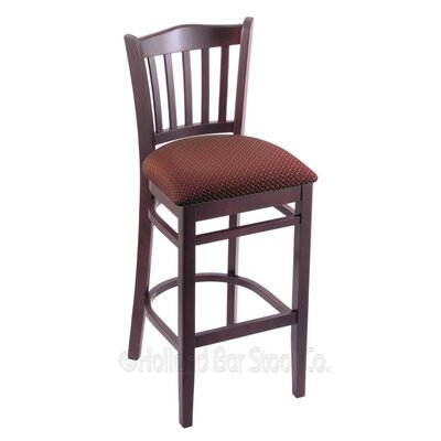 25 Bar Stool Finish: Dark Cherry, Upholstery: Axis Paprika