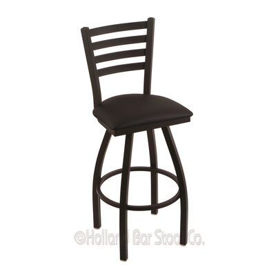 Jackie 36 Swivel Bar Stool Finish: Black Wrinkle, Upholstery: Black Vinyl