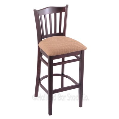 25 Bar Stool Finish: Dark Cherry, Upholstery: Axis Summer