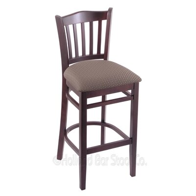 25 Bar Stool Finish: Dark Cherry, Upholstery: Axis Truffle