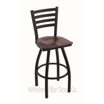 Jackie 30 Swivel Bar Stool Upholstery: Dark Cherry Maple, Base Finish: Black Wrinkle