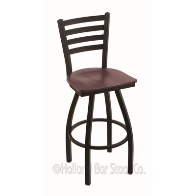Jackie 36 Swivel Bar Stool Base Finish: Black Wrinkle, Upholstery: Dark Cherry Oak