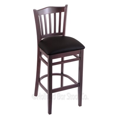 25 inch Bar Stool Upholstery: Black Vinyl, Finish: Dark Cherry