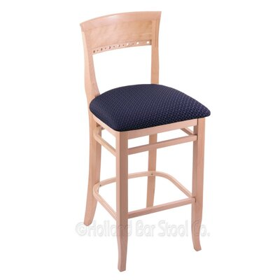 30 Bar Stool Finish: Natural, Upholstery: Axis Denim