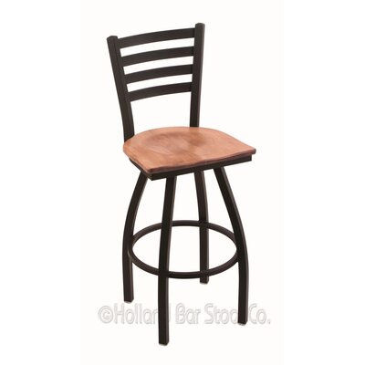 Jackie 30 Swivel Bar Stool Base Finish: Black Wrinkle, Upholstery: Medium Maple