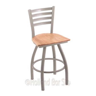Jackie 30 Swivel Bar Stool Base Finish: Anodized Nickel, Upholstery: Natural Oak