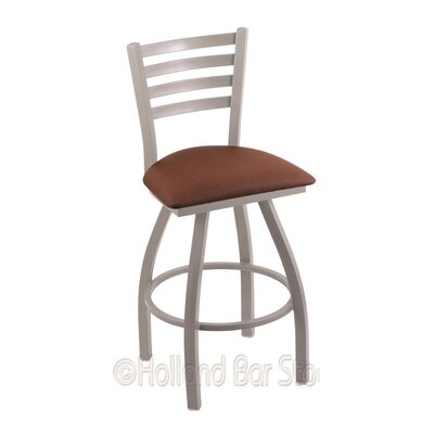 Jackie 25 Swivel Bar Stool Finish: Anodized Nickel, Upholstery: Rein Adobe