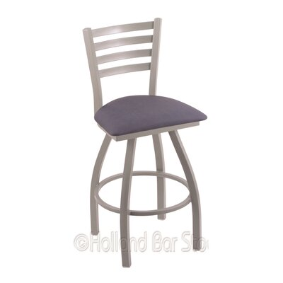 Jackie 25 Swivel Bar Stool Finish: Anodized Nickel, Upholstery: Rein Bay