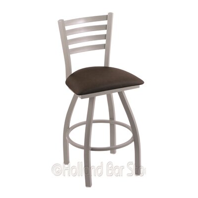 Jackie 30 Swivel Bar Stool Finish: Anodized Nickel, Upholstery: Rein Coffee