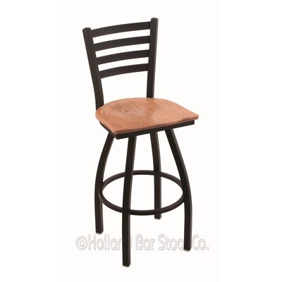 Jackie 25 Swivel Bar Stool Base Finish: Black Wrinkle, Upholstery: Medium Oak