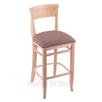 25 Bar Stool Finish: Natural, Upholstery: Axis Willow