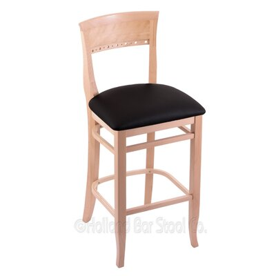 25 Bar Stool Upholstery: Black Vinyl, Finish: Natural