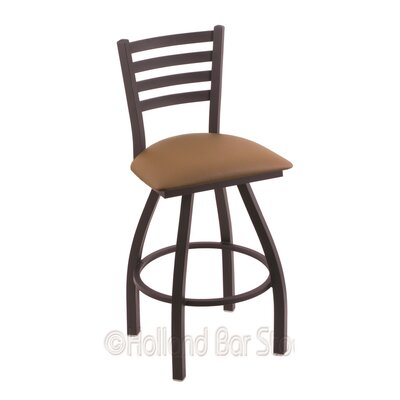 Jackie 25 Swivel Bar Stool Finish: Black Wrinkle, Upholstery: Allante Beechwood