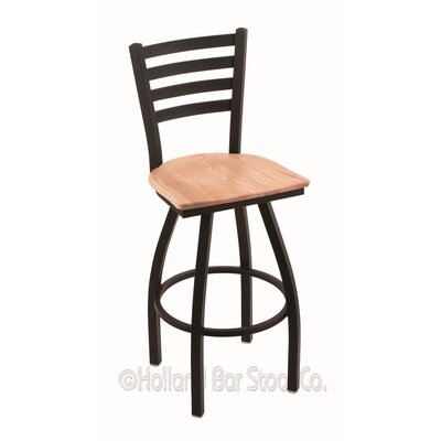 Jackie 25 Swivel Bar Stool Base Finish: Black Wrinkle, Upholstery: Natural Oak