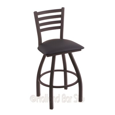 Jackie 30 Swivel Bar Stool Finish: Black Wrinkle, Upholstery: Allante Dark Blue