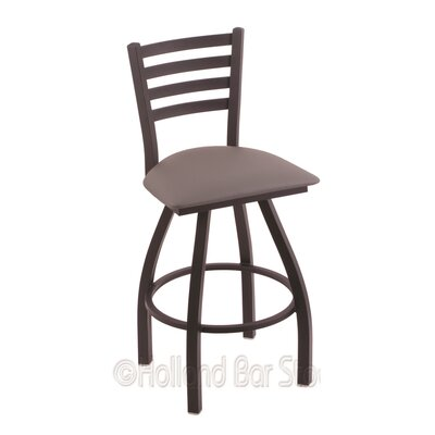 Jackie 25 Swivel Bar Stool Finish: Black Wrinkle, Upholstery: Allante Medium Grey