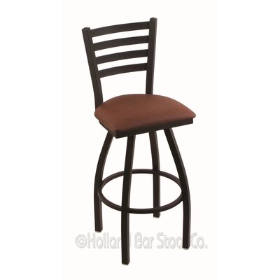 Jackie 36 Swivel Bar Stool Finish: Black Wrinkle, Upholstery: Rein Adobe