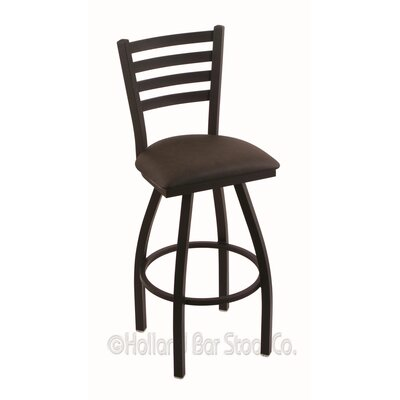 Jackie 36 Swivel Bar Stool Finish: Black Wrinkle, Upholstery: Rein Coffee