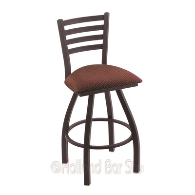Jackie 25 Swivel Bar Stool Finish: Black Wrinkle, Upholstery: Axis Paprika