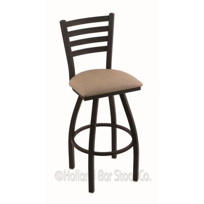 Jackie 36 Swivel Bar Stool Finish: Black Wrinkle, Upholstery: Rein Thatch