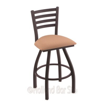 Jackie 30 Swivel Bar Stool Finish: Black Wrinkle, Upholstery: Axis Summer