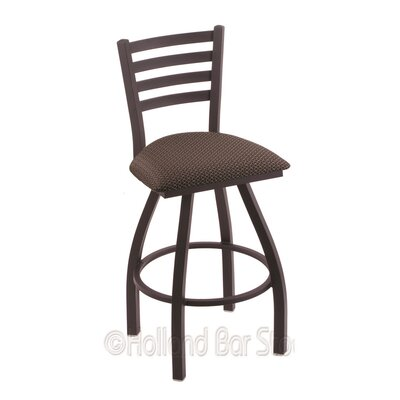 Jackie 25 Swivel Bar Stool Finish: Black Wrinkle, Upholstery: Axis Truffle