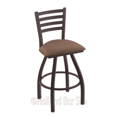 Jackie 25 Swivel Bar Stool Finish: Black Wrinkle, Upholstery: Axis Willow