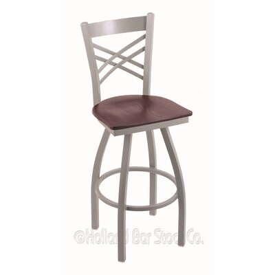 Catalina 30 Swivel Bar Stool Base Finish: Anodized Nickel, Upholstery: Dark Cherry Oak