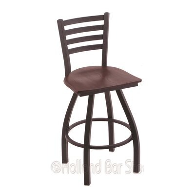 Jackie 25 Swivel Bar Stool Base Finish: Black Wrinkle, Upholstery: Dark Cherry Oak