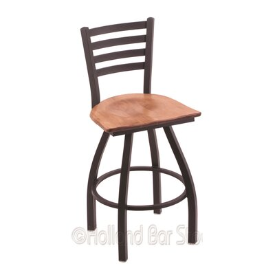 Jackie 36 Swivel Bar Stool Base Finish: Black Wrinkle, Upholstery: Medium Maple