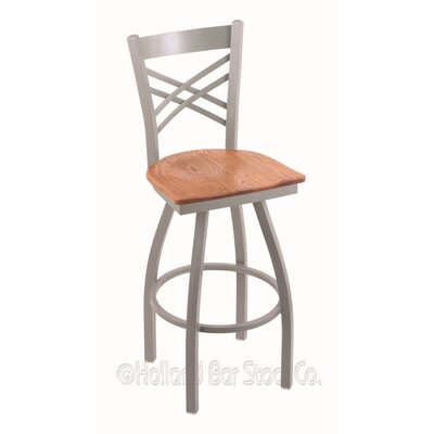 Catalina 36 Swivel Bar Stool Base Finish: Anodized Nickel, Upholstery: Medium Oak