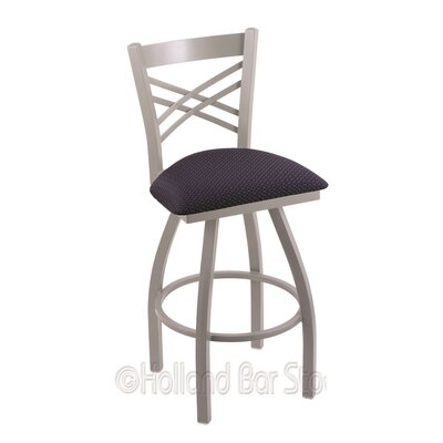 Catalina 25 Swivel Bar Stool Finish: Anodized Nickel, Upholstery: Axis Denim