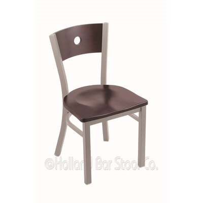 Voltaire Solid Wood Dining Chair Base Finish: Anodized Nickel, Upholstery: Dark Cherry Maple