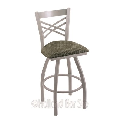 Catalina 30 Swivel Bar Stool Finish: Anodized Nickel, Upholstery: Axis Grove