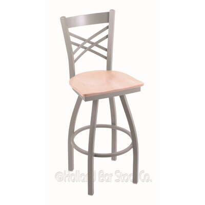 Catalina 36 Swivel Bar Stool Base Finish: Anodized Nickel, Upholstery: Natural Maple