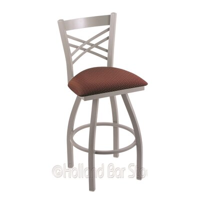 Catalina 36 Swivel Bar Stool Finish: Anodized Nickel, Upholstery: Axis Paprika