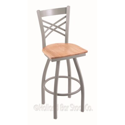 Catalina 36 Swivel Bar Stool Upholstery: Natural Oak, Base Finish: Anodized Nickel