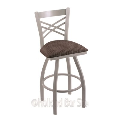 Catalina 25 Swivel Bar Stool Upholstery: Axis Truffle, Finish: Anodized Nickel
