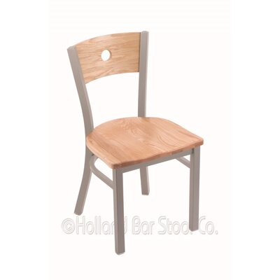 Voltaire Side Chair Base Finish: Anodized Nickel, Upholstery: Natural Oak